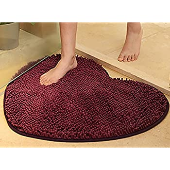 Yuanlar Non-slip Microfiber Bath Mats Bathroom Shower Rugs Door Mat Toilet Rug Area Carpet for Home Living Room Kitchen Heart-shaped (19.7x23.6, Purple)
