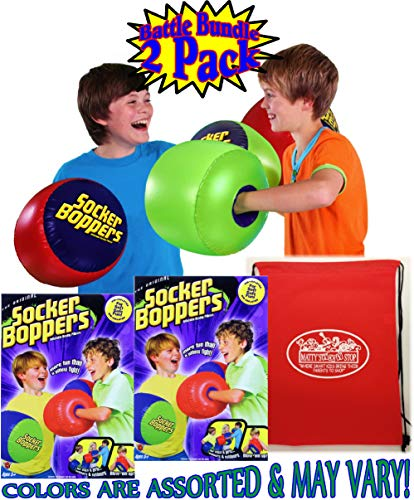 Inflatable Punching Gloves (Socker Boppers Inflatable Bop'em, Sock'em, Boxing Pillows Battle Set Bundle with Bonus Matty's Toy Stop Storage Bag - 2 Pack (2 Pairs, 4 Boxing Pillows Total) Colors are Assorted &)