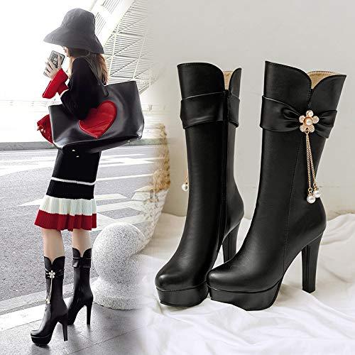Tamaño Plataforma Botas Con Invierno Gruesas Tacón Alto 黑色 Shoe Diamantes Moda De Phy Otoño Gran Imitación E YZqvwp