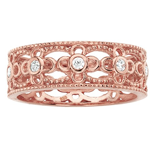 - Lux Rose Gold-Plated .925 Sterling Silver White Cubic Zirconia Filigree Ring