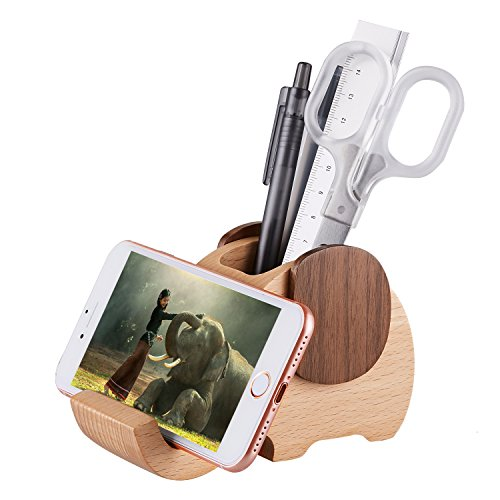 AhfuLife Wooden Elephant Phone Stand with Pen&Pencil Holder/Pot