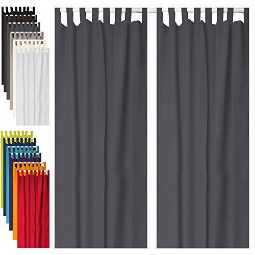 2er Set Schlaufenschal Vorhang Gardine Rideau - blickdicht - 140x260 cm - grau