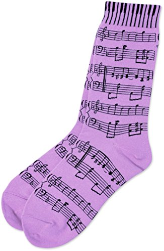 Aim Ladies Socks with Sheet Music and Keyboard design (One Size, Lavender) (Aim Music)