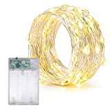 LED String Lights, Waterproof Outdoor 100 LED Indoor Decorative Light for Christmas Bedroom,Patio,Outdoor Garden,Stroller,DecorTree,UL588 Approved (Silver Wire Lights, Warm Color)