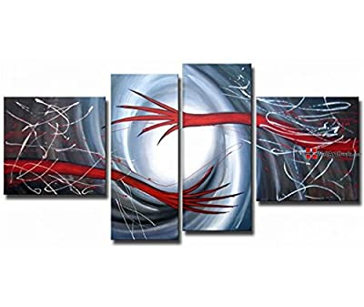 Framed Modern Grey and Red Young Flowers Wall Art Oil Painting 4 Piece
