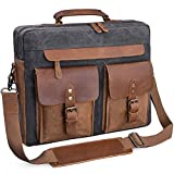 Mens Messenger Bag 15.6 Inch Vintage Genuine Leather Briefcase Waterproof Waxed Canvas Laptop Computer Bag Large Leather Satchel Shoulder Bag Grey
