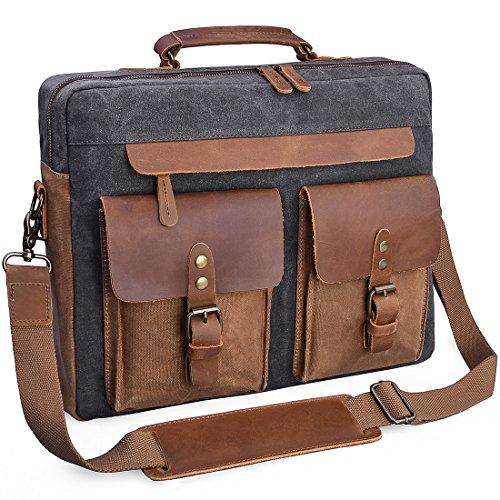 15 Mens Leather Bag - Mens Messenger Bag 15.6 Inch Vintage Genuine Leather Briefcase Waterproof Waxed Canvas Laptop Computer Bag Large Leather Satchel Shoulder Bag Grey