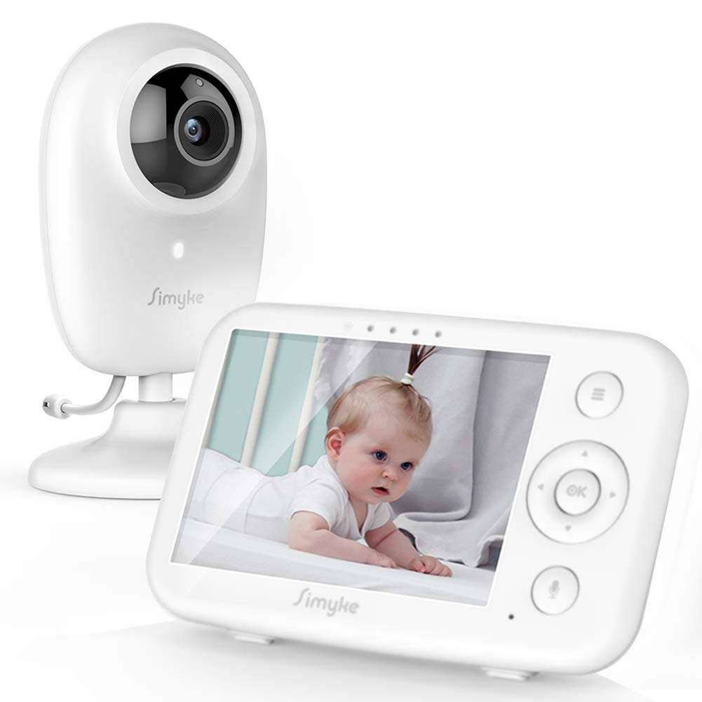 "Simyke Video Baby Monitor with Camera and Audio 3.5"" LCD Digital Display with Long Range Night Vision Temperature Monitoring VOX Auto Lullaby Function 2 Way Talk"