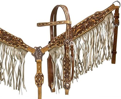 Showman Double Stitched Leather Headstall /& Breast Collar Set w//Tan Suede Fringe /& Floral Tooling w//Reins New Horse TACK!