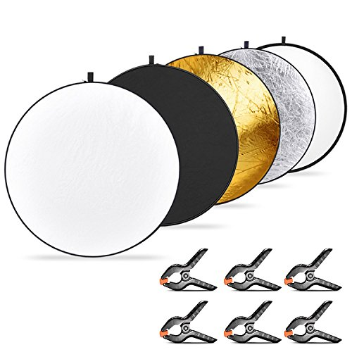 Neewer 5-in-1 Collapsible Multi-Disc Light Reflector 43 inches/110 centimeters and 6-Pack Muslin Backdrop Spring Clamps, Translucent/Silver/Gold/White/Black Reflector for Studio or Outdoor Photography by Neewer