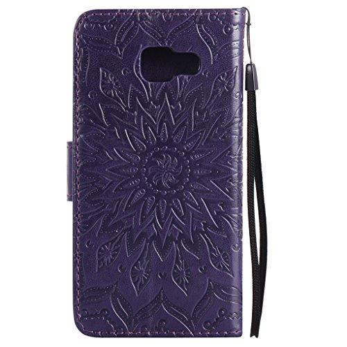 Trumpshop Smartphone Carcasa Funda Protección para Samsung Galaxy A3 (2016) [Púrpura] 3D Mandala PU Cuero Caja Protector Billetera Choque Absorción Púrpura