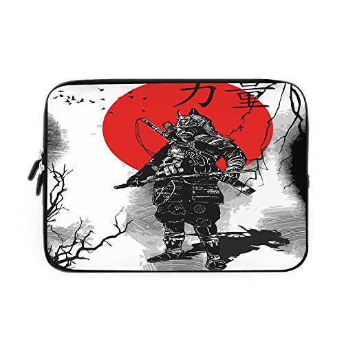 Japanese Laptop Sleeve Bag,Neoprene Sleeve Case/Portrait of Skilled Educated Aristocrat Ancient Knight with Weapon Man of War Image/for Apple MacBook Air Samsung Google Acer HP DELL Lenovo As ()