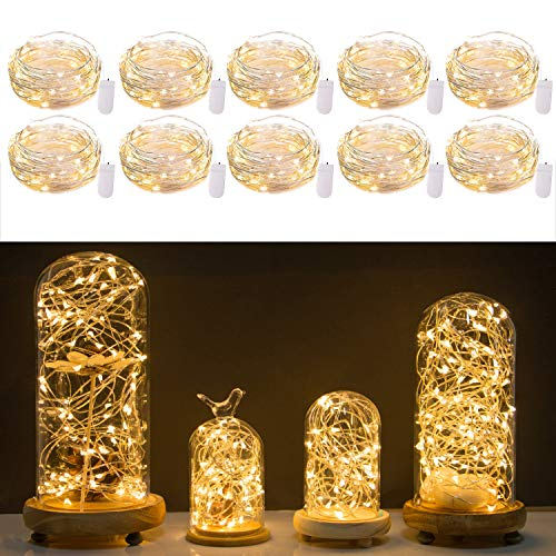 10 Pack Fairy Lights 7 Feet 20 LED Firefly Lights Battery Operated String Lights Copper Wire Starry Moon Lights for DIY Wedding Bedroom Indoor Party Decoration (Warm White) Cooper Crystal Table Lamp