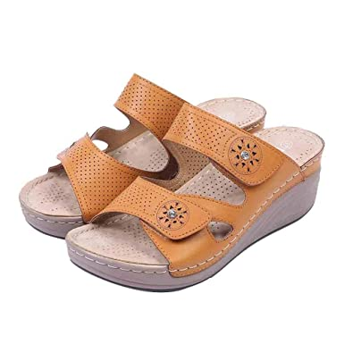 83e6c3e71 BSGSH Womens Fashion Open Toe Platform Heeled Slide Sandal Boho Summer Shoes  Slippers (5.5 M