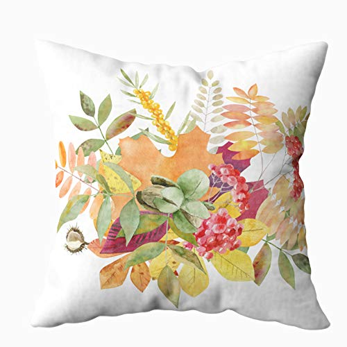 TOMWISH Throw Pillow Covers, Hidden Zippered 16X16Inch Beautiful Painted Watercolor Bouquet Template Texture Autumn Leafs Decorative Throw Cotton Pillow Case Cushion Cover for Home - Leaf Autumn Bouquet
