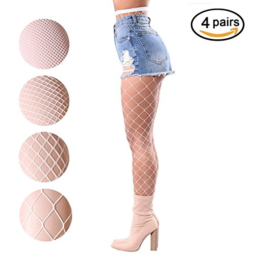 Women Fishnet Stockings – 3 or 4 Pairs Fishnets Tights for Dancing Party Halloween (One Size, White, 4 (Dance Party Halloween)