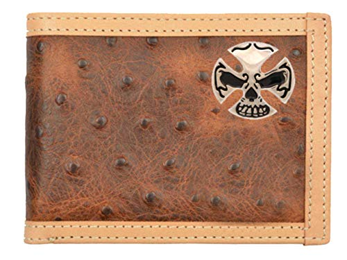 Brown Fold Bi Crossbones Custom Skull and Wallet Ostrich Print x0YtBYw
