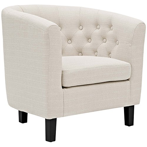 Modway Prospect Upholstered Contemporary Modern Armchair In Beige (Armchair Reading For)