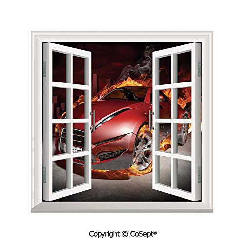 Artificial Window Wall Applique Landscape Wall Decoration,Red Sports Car Burnout Tires in Flames Blazing Engine Hot Fire Smoke Automobile Decorative,Window Decorative Decals Interior(25.86x22.63 -
