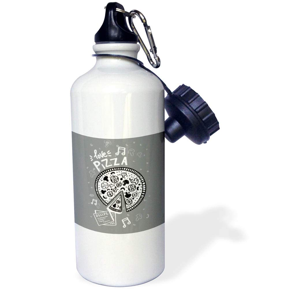 3dRose Uta Naumann Sayings and Typography - I Love Pizza - Gray Kitchen Food Fun Humor Typography and Illustration - 21 oz Sports Water Bottle (wb_290038_1)