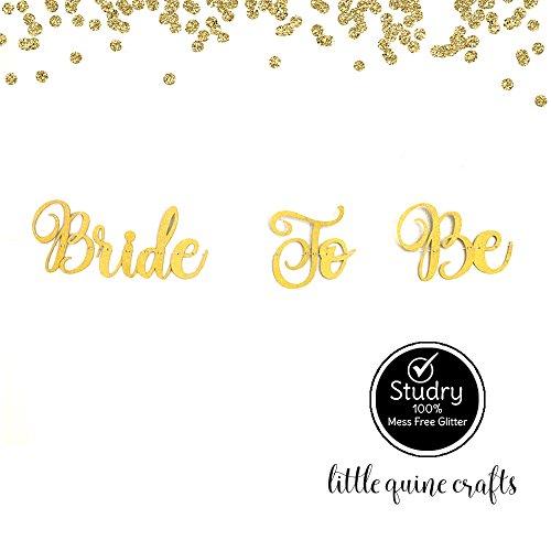 Amazon com: Bride To Be Gold Glitter Cursive Letter Banner Garland