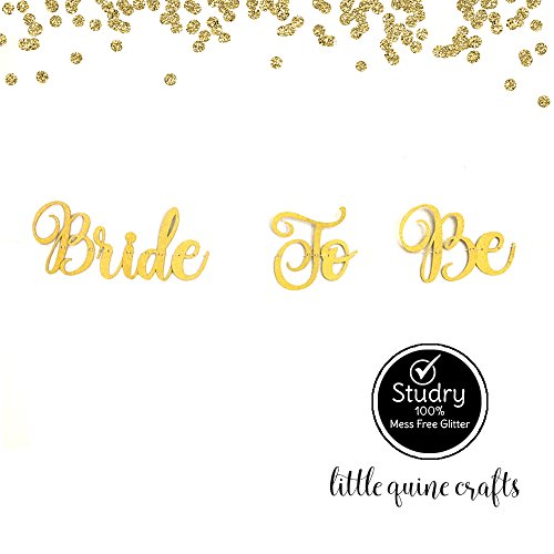 (Bride To Be Gold Glitter Cursive Letter Banner Garland for Bachelorette Party Bridal Shower)