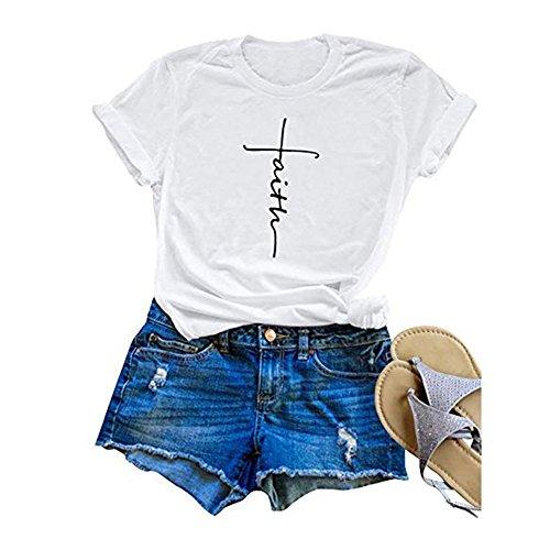 Women Casual T Shirt Faith Printed Summer Tees Cotton Short Sleeve Tops (XXL, ()