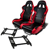 Pair of RST4BKRD Racing Seats+Mounting Bracket for Nissan 350Z Z33 Fairlady