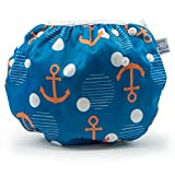 #3: LARGE Nageuret Reusable Swim Diaper, Adjustable & Stylish Fits Diapers Sizes 4-7 (approx. 20-55lbs) Ultra Premium Quality For Eco-Friendly & Swimming Lessons (Anchors)