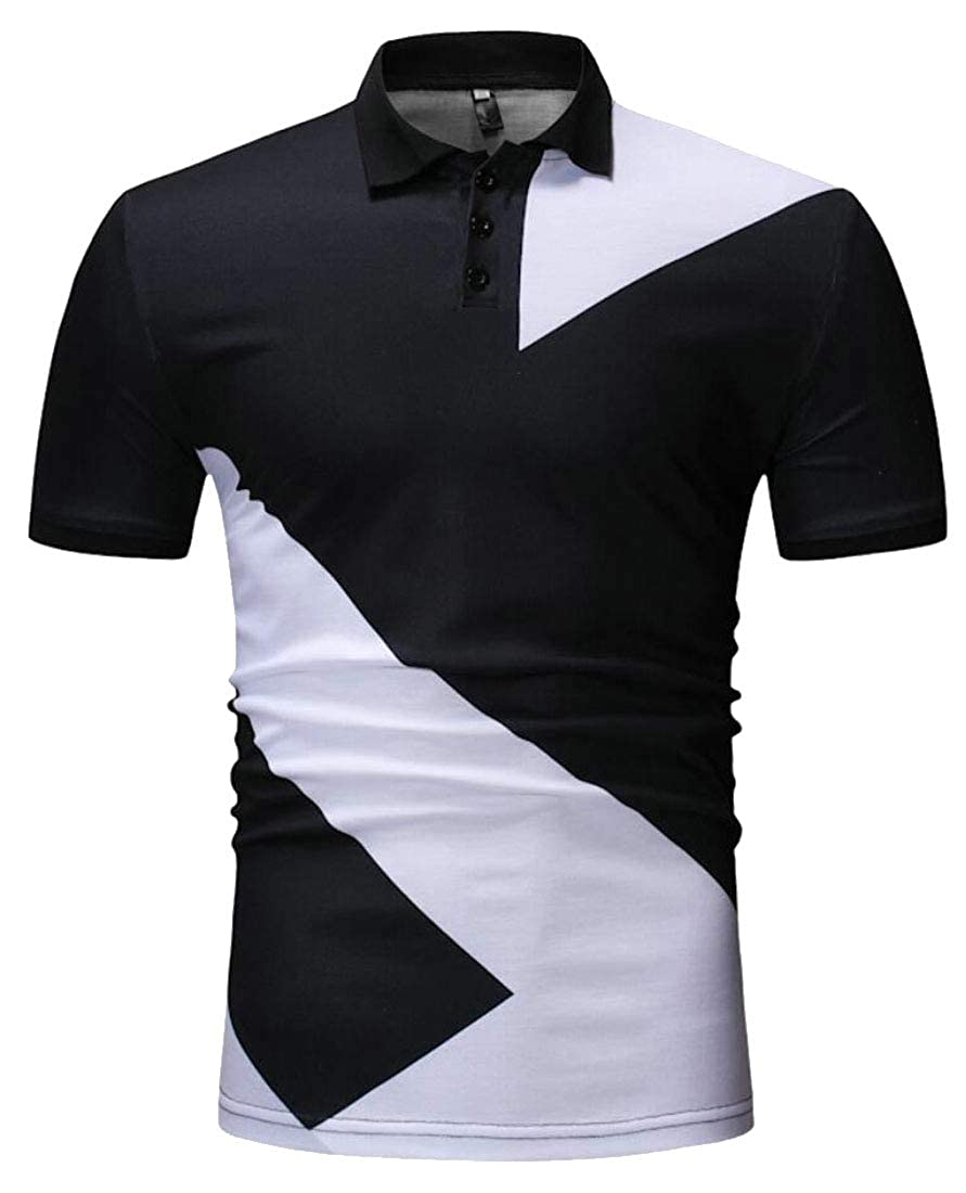 Mens Lapel Casual Short Sleeve Color Stitching T-Shirt Slim Polo Shirt