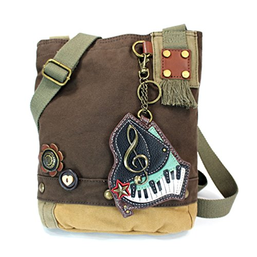 body Cross Key Bags Fob Purse Dark Cotton Brown with Coin Canvas Chala Tote Piano Grand ZFwzEtxx
