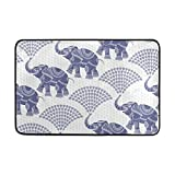 Vantaso Decorative Elephant Pattern Blue Soft Foam Door Mat for Children Non Skid Fun Area Rugs Kids Bedroom Playroom Nursery Decor 23.6 x 15.7 inch