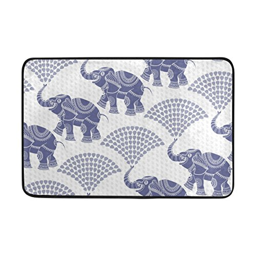 Vantaso Decorative Elephant Pattern Blue Soft Foam Door Mat for Children Non Skid Fun Area Rugs Kids Bedroom Playroom Nursery Decor 23.6 x 15.7 inch by Vantaso