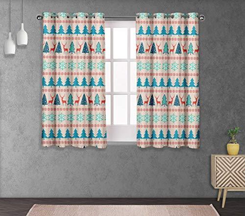 (S4Sassy Cotton Duck Snowflake & Tree White Christmas Set of 2 Panel Eyelet Bed Room Short WindowCurtainsDrapes- 54X63 Inches)