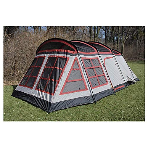 Tahoe Gear Glacier 12 to 14 Person 3-Season Family Cabin Tent, Red and Gray