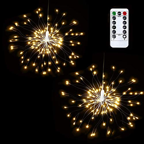 Lyhope 2 Pack Starry String Lights, Battery Powered Waterproof Dimmable Fairy Christmas Light with Remote Control 120 Led Starburst String Lights for Outdoor & Indoor, Halloween Decor (Warm White)
