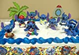 Disney 16 Piece Lilo and Stitch Birthday Cake Topper Set Featuring 8 Stitch Figures Including Chef Stitch, Beach Bum Stitch, Mailman Stitch, Fast Food Server Stitch, Hula Stitch, Painter Stitch, 6 Lilo and Stitch Buttons, and Decorative Palm Tree and Rocket, Health Care Stuffs