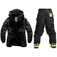 Southplay mens Outwear waterproof ski-snowboard All Black Jacket+Pants set