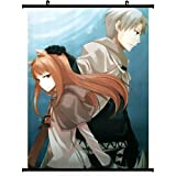 Spice and Wolf Anime Wall Scroll Poster Craft Lawrence & Horo(24''*32'')support Customized