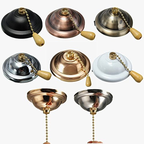 YPINGLI Universal Colorful Ceiling Fan Light Wall light Pull Chain Switch AC 3A/125-250V Led light (Color : Green Bronze)