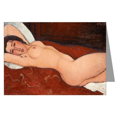 Single Amedeo Modigliani Fine Art Painting Titled Reclining Nude 1917 Greeting Card by Classic Fine Art Cards