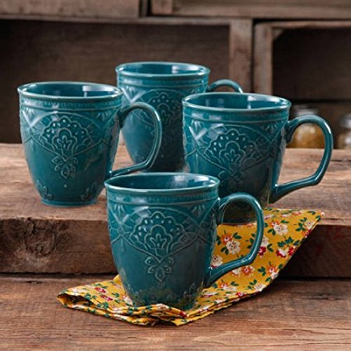 The Pioneer Woman Farmhouse Lace Mug Set,OCEAN TEAL 4-Pack | Antique Finish Durable Stoneware Lace Mug Set, 4-Pack - OCEAN TEAL - Antique Lace Collection