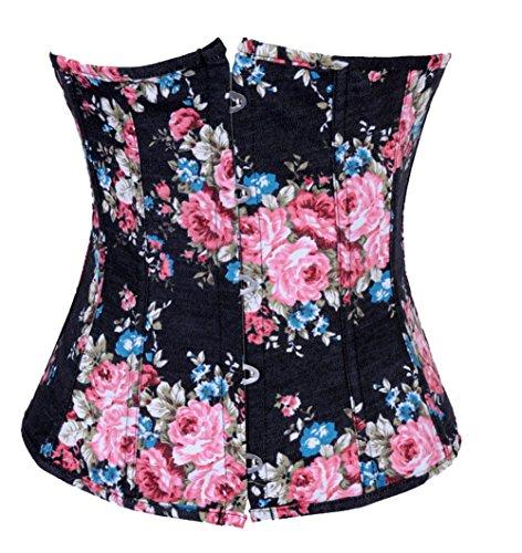 ZAMME Cintura de la Mujer Cincher Vintage Florales Denim Corset Top Bustierr Negro