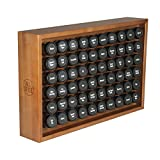 AllSpice Large Wooden Counter Spice Rack + 60 Spice Jars + Labels