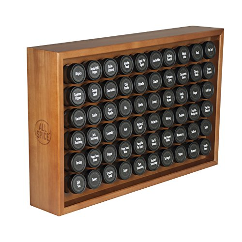 AllSpice Wooden Spice Rack, Includes 60 4oz Jars- Cherry ()