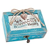 You Are a Wonderful Blessing Cross Teal Wood Locket Jewelry Music Box Plays Tune How Great Thou Art