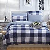 HOLY HOME Duvet Cover Set Pure Cotton Simple & American Rural Vintage Style Trellis Design Large-check Blue 4 Piece- Gentlemen's Bedclothes Full Size 78''x90'' Hypoallergenic