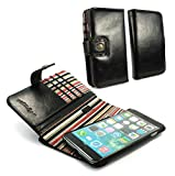 Alston Craig Genuine Vintage leather E-scape wallet case cover (with RFID Blocking) for iPhone 6 PLus - Black (Red striped)