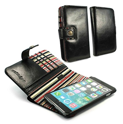 Alston Craig Genuine Vintage leather E-scape wallet case cover (with RFID Blocking) for iPhone 6 PLus - Black (Red striped) by Alston Craig