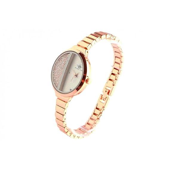 Pulsera reloj mujer oro rosa y brillantes sola - Mujer: Amazon.es: Relojes